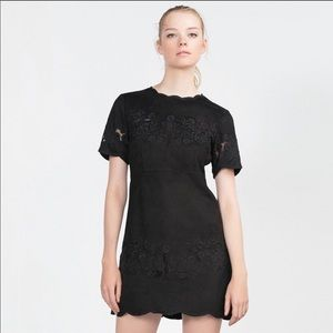 ✨ ZARA black suede floral lace dress